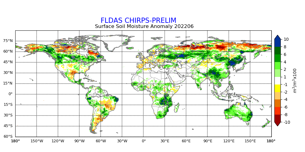 Monthly mean Soil Moisture Anomaly